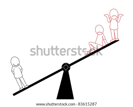 One business man on a scale is worth his weight compared to a group of two workers. - stock vector
