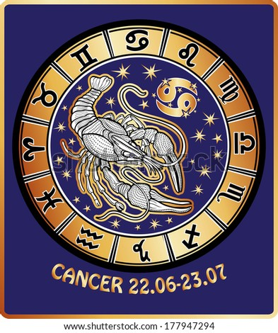 One Cancer zodiac sign behind them are symbols of all zodiac signs Horoscope circle. Golden and white figure on blue background.Graphic Vector Illustration in retro style.  - stock vector