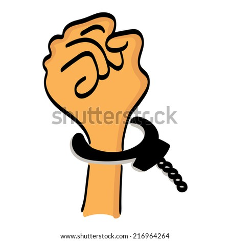 One cartoon hand man in handcuffs isolated on white background - stock vector