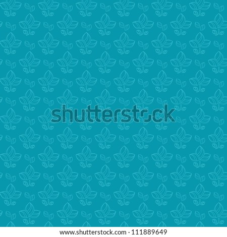 One Color Blue Flower Silhouette in Line Order Seamless Pattern. Vector Background
