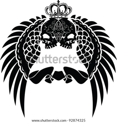 One Color Crown Skull Wings - stock vector