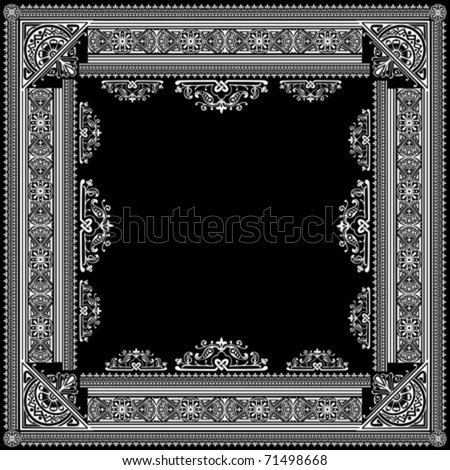 One Color Vector High Ornate Title Frame and Pattern - stock vector