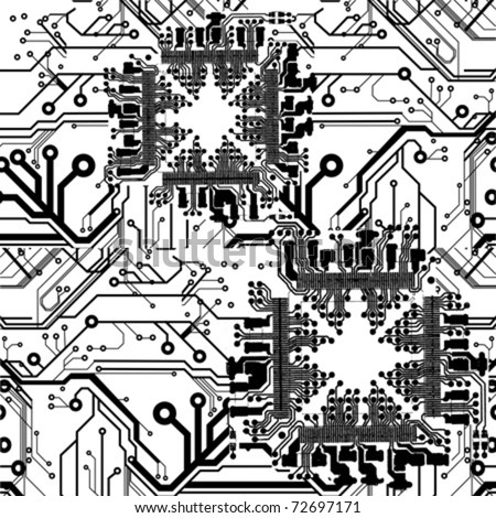 One Color Vector Printed Circuit Board Pattern - stock vector