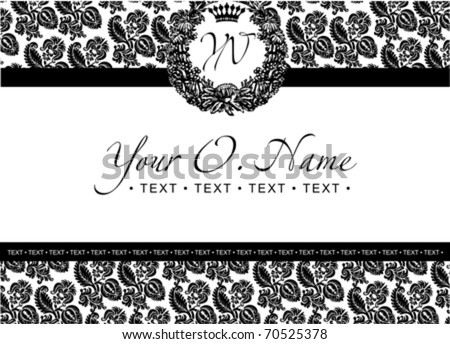 One Color Vector Small Title Frame And Pattern - stock vector