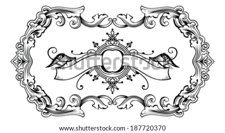One Color Vintage Ornate Frame And Banner - stock vector