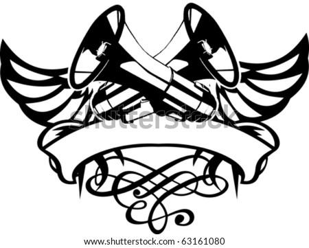One Color Wings Loudspeakers Megaphones Emblem. Vector Illustrations. - stock vector