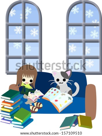 One day of a white winter, A woman is reading many books with a cat. - stock vector