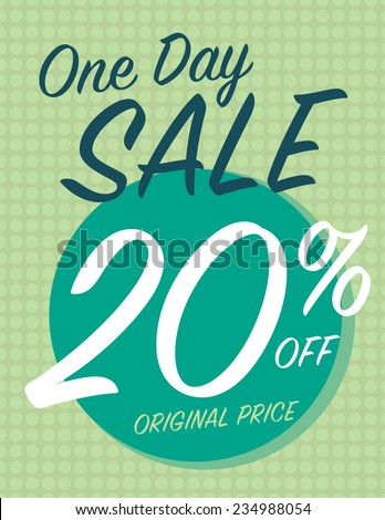 One day sale sign with 20% off original price - stock vector