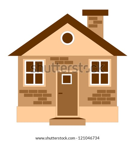 One detailed house icon isolated on white, vector illustration - stock vector