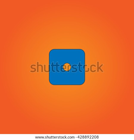 One dices - side with 1. Blue flat icon with black stroke on orange background. Collection concept vector pictogram for infographic project and logo - stock vector
