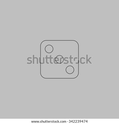 One dices - side with 3. Outlne vector icon on grey background