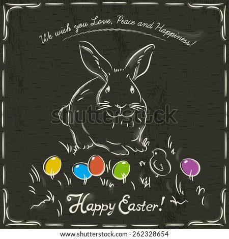 One easter  rabbit and easter colored eggs on grunge brown background and inscription with text Happy Easter. - stock vector