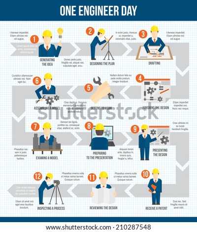 One engineer worker manufacturing construction day infographic design with arrows vector illustration - stock vector