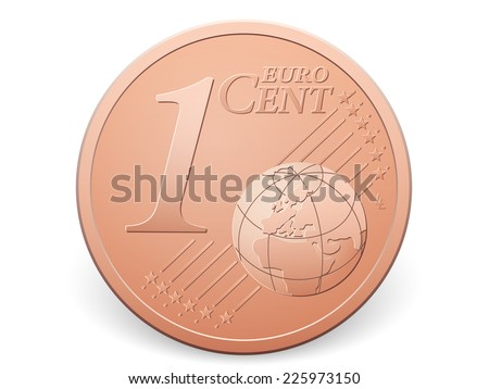 One euro cent coin on a white background. - stock vector