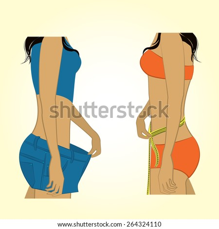 One girl measuring herself with measuring tape, the other girl bulges shorts that became big - stock vector