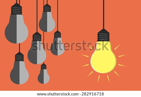 One glowing light bulb hanging beside many gray dull ones. Innovation, motivation, insight, inspiration concept. EPS 10 vector illustration, no transparency - stock vector