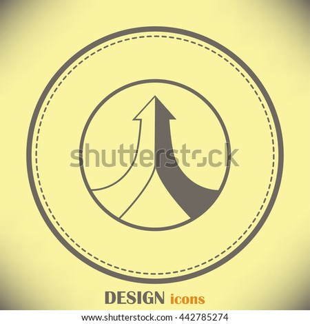 One goal. The two arrows are connected in one direction up.  - stock vector