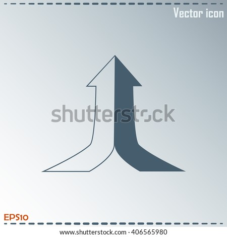 One goal. The two arrows are connected in one direction up. Vector illustration. - stock vector