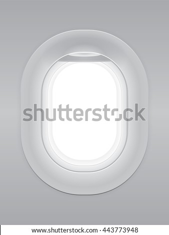 One gray blank window plane, gray airplane window, gray light template, plain aircraft window white space. - stock vector