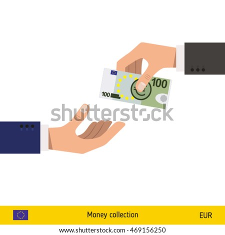 One hand gives euro in other hand