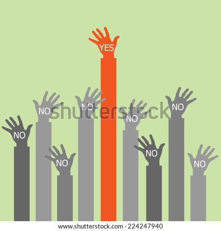 One hand say yes. - stock vector