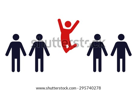 one happy jumping human figure in a row of identical standing men- vector illustration - stock vector