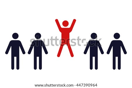 one happy jumping human figure in a row of identical standing men - vector illustration