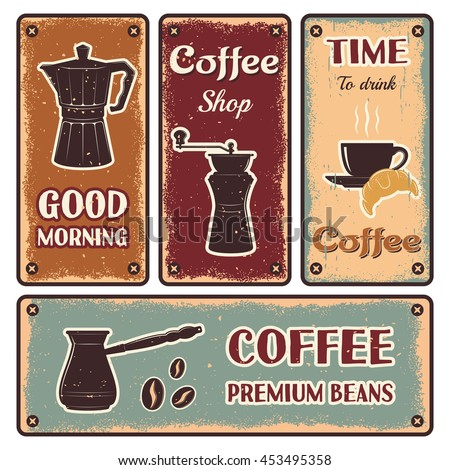 One horizontal and three vertical coffee retro banner set with titles good morning time and premium bean vector illustration - stock vector