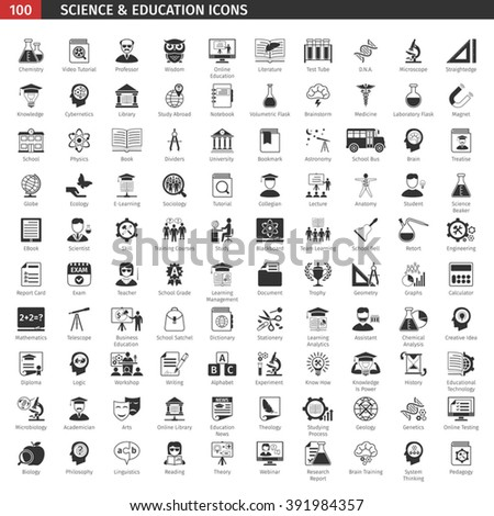 One Hundred Black Education Icons Set.