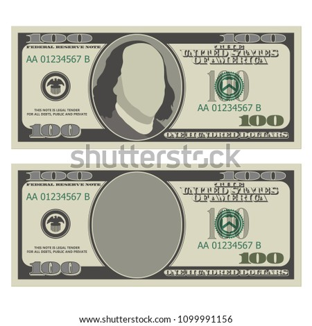 one hundred dollar bill design template stock vector royalty free