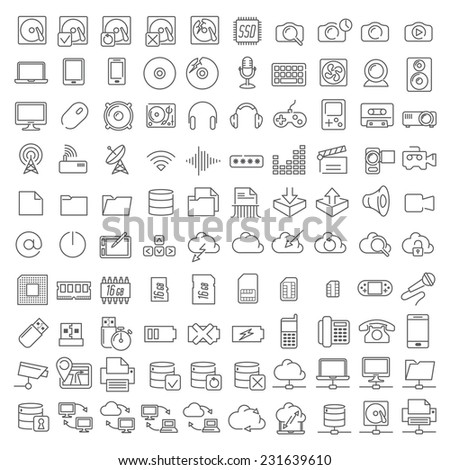 One hundred linear icons of electronics and digital devices for infographics and application interface. - stock vector