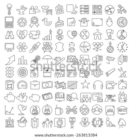 One hundred miscellaneous thin line icons set for web design and infographics - stock vector