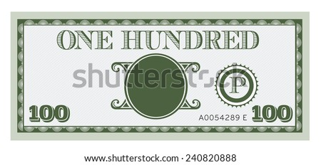 One hundred money bill image. With space to add your text, information and image. - stock vector