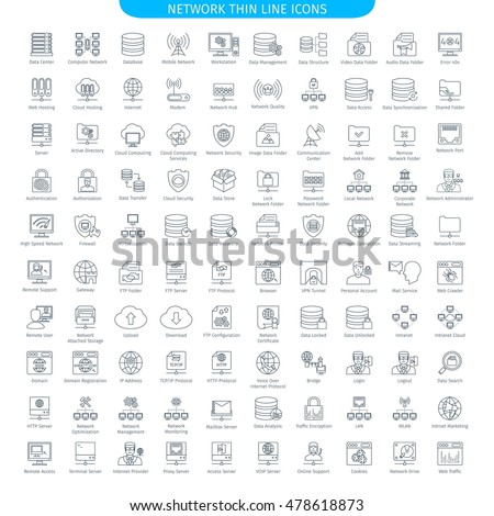 One Hundred Thin Line Icons Set Of Database Server And Networking. Web Elements Collection