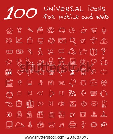 One hundred universal icon for mobile and web (Hand-drawn).