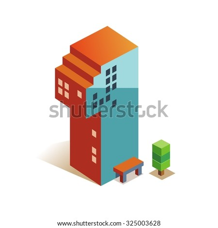One latin number in skyscraper shape - stock vector