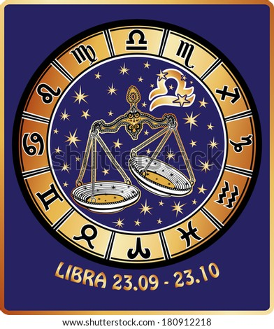 One Libra  with symbols of all zodiac signs in Horoscope circle.Golden and white figure on blue background.Graphic Vector Illustration in retro style. - stock vector