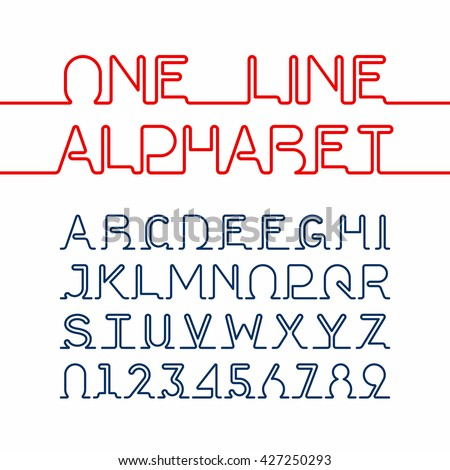 One Line Alphabet And Numbers Single Continuous Font Vector Illustration