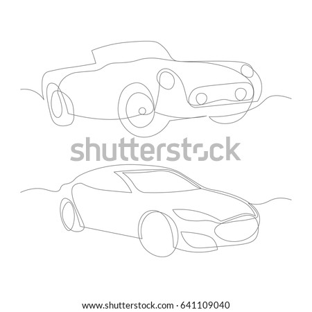 One Line Cars Design Silhouette Vector Stock Photo (Photo, Vector ...