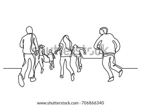 Sketch Style Drawing Happy Children Playing Stock Vector