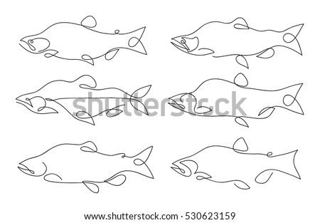One line fish design silhouette logo design hand drawn minimalism style vector illustration