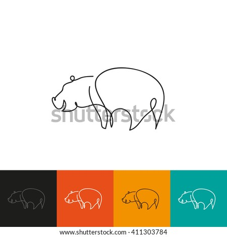 One line hippopotamus design silhouette. Hand drawn minimalism style vector illustration - stock vector