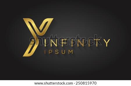 One line letter symbol. Vector illustration. - stock vector