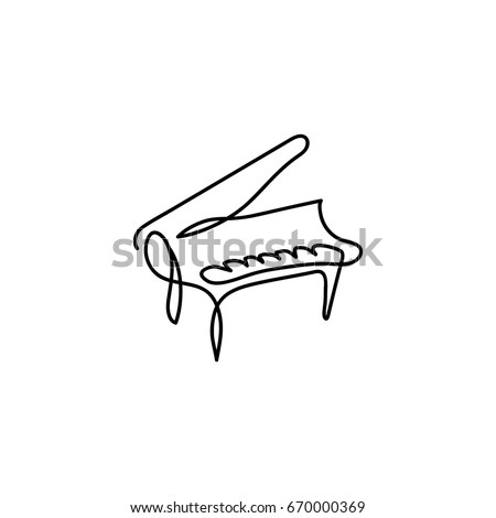 One Line Piano Instrument Design Hand Drawn Minimalistic Style Vector Illustration