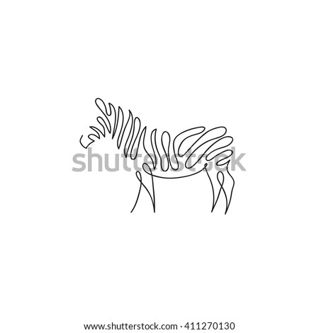 One line zebra design silhouette. Hand drawn minimalism style vector illustration