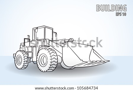 One Loader excavator construction machinery equipment isolated vector - stock vector