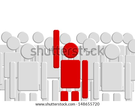 One man hand up. - stock vector