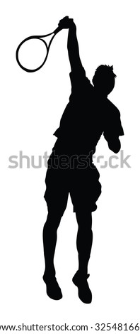 One man tennis player vector silhouette isolated on white background.  - stock vector