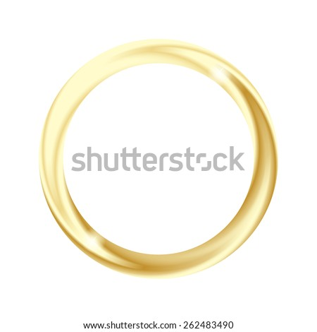 One metallic glowing wedding golden ring with sparkles and blending texture, isolated on white background. Vector illustration. - stock vector