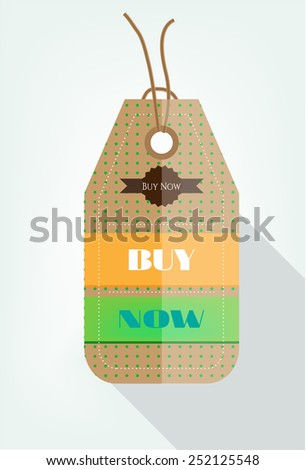 One modern, isolated tag on bright background - stock vector
